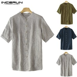 f93431b2c Masculina Camisa Ethnic Cotton Shirts Chinese Style Mens Dress Vintage Tee  Tops Short Sleeve Loose Button Down Casual Shirt Big