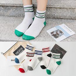 Mens Cotton Socks Sale NZ - mens women designer sock European and American men's socks Letters parallel bars color matching Autumn new tube cotton socks direct sale