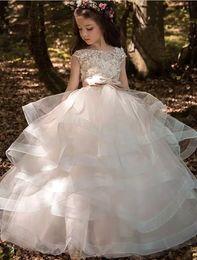 Wedding dresses tulle skirts online shopping - 2019 Cap Sleeves Tulle Ruffles Skirt A Line Flower Girls Dresses Lace D Floral Beaded Bow Sash Hollow Back Girls Dresses BA7652