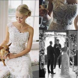 $enCountryForm.capitalKeyWord Australia - 2019 Modest Full Lace Sheath Wedding Dresses With Crystals Sash One Shoulder Plus Size Vintage Bohemian Beach Country Bridal Wedding Gowns