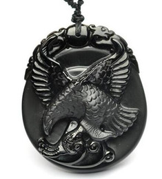 Carved Jade Red Pendants Australia - 100% Natural Black Obsidian Carved Flying Eagle Lucky Totem Pendant + Necklace Beads Fashion Jewelry For Woman Man
