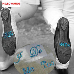 $enCountryForm.capitalKeyWord UK - Romantic 1 Set Of I DO and ME TOO Clear Rhinestones decoration Wedding decal Wedding Shoe stickers Wedding Decoration