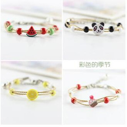 $enCountryForm.capitalKeyWord Australia - Hand-woven fruit animals bracelet small cartoon gifts small round bead cheapest students kids bracelets watermelon Kiwi fruit strawberry 504