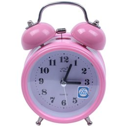 Discount alarm clock night light Portable Fashion Classic Silent Double Bell Alarm Clock Quartz Movement Bedside Night Light Best Quality