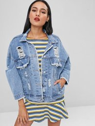 $enCountryForm.capitalKeyWord Australia - ZAFUL Distressed Buttoned Denim Jacket Frayed Ripped Cut Out Jacket