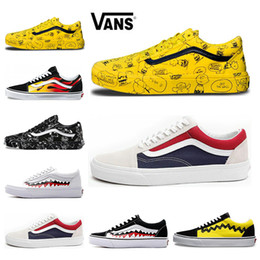 69b17c9522229d Hot Vans Old Skool Men Women Casual Shoes Rock Flame Yacht Club Sharktooth  Peanuts Skateboard Black White Canvas Skate Sneaker