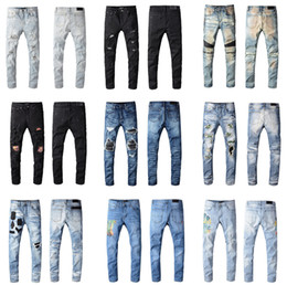 Denim skinny men online shopping - 2020 New Arrival Top Quality Brand Designer AMR Men Denim Slim Jeans Embroidery Pants Fashion Holes Trousers US Size