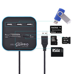 Universal sd card reader online shopping - 3 Port USB HUB Card Reader Multi USB Splitter in Support Micro TF SD M2 MS SDHC MMC Card USB Hub for PC Laptop