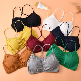 $enCountryForm.capitalKeyWord NZ - Gym Sports Bras Women Crop Tops Solid Colors Bralette Underwear Bandage Strappy Padded Bra Tops Cotton Vest Tank