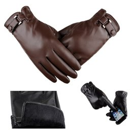 Thick Leather Gloves Australia - Mens PU Leather Gloves Soft Thick Fleece Lining Five Fingers Warm Gloves Car Motorbike Driving Biking Outdoor Gloves