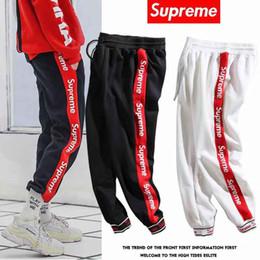 Men new fashion jogging pants online shopping - 2019 new sweatpants Supreme trousers Breathable sweat trend fashion Comfortable men women black size M XXL Leg pants hot m1233