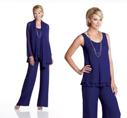 $enCountryForm.capitalKeyWord NZ - Royal Blue Chiffon Mother Of The Groom Bride Pant Suits Lady Mother Pants Suit For Wedding Party Trousers Suits Women Formal Evening Dresses