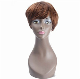 $enCountryForm.capitalKeyWord Australia - Pixed Cut Wig 8 inch Short Brazilian Human Hair Wig Straight Full Wigs None Lace