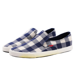Canvas Shoes Plaid Australia - Fashion Plaid Canvas Shoes Men Loafers High Quality Breathable Men Casual Shoes Male Brand Cloth Footwear ZH2952