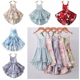 vintage baby clothes UK - 2019 baby girl summer dresses flower girls dresses kids boutique clothing floral holiday beach dress backless halter vintage dress clothes