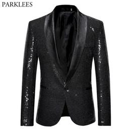 Mens Shiny Blazer Jacket Gold Sequin Glitter Suit Jacket Men Party Nigtclub  Single Breasted Suit Blazer DJ Stage Singer Clothes 7886ba0eeec6
