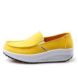 Wholesale Hot Sale-Summer Women's Shoes Yellow Blue Sport Shoes Walking Flats Height Increasing Women Platform Canvas Swing Wedges Shoe Fitness shoes