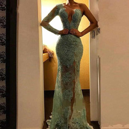 Mint long sleeve lace dress online shopping - 2019 Sexy Illusion Mint Lace Mermaid Prom Dresses Sparkle Sequined Beaded Long Prom Gowns High Side Split One Shoulder Party Dresses