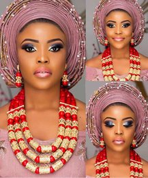 Fantastic Earrings Australia - Jewelry Sets Women Fantastic Red and Gold Nigerian Wedding Gift Coral Bead Necklace Earrings Set for Brides CNR174 C19010301