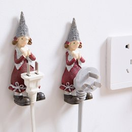 $enCountryForm.capitalKeyWord Australia - Cartoon Storage Rack Resin Plug Power Cord Hook Kitchen Socket Tape Power Cord Wall Hanger Hook Storage Rack