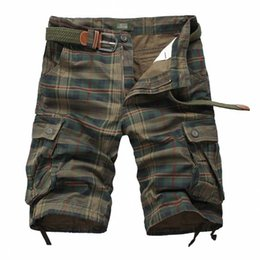 Wholesale Plaid Men Casual Shorts Men s Camouflage Camo Cargo Shorts Mens Casual Clothing Male Loose Work Man Short