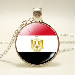 pendant cabochon NZ - 2019 Time Gem Glass Cabochon Egypt National Flag World Cup Football Fan Long Chain Pendant Necklaces For Women Men Choker Jewelry Lover Gift
