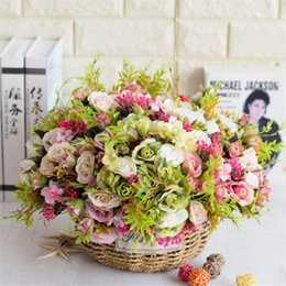 $enCountryForm.capitalKeyWord NZ - European Fake Rose Bunch (5 stems piece ) Simulation Roses with Plastic Accessories for Wedding Home Decorative Artificial Flowers