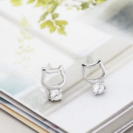 women cat ear studs Canada - Cute kitten earrings silver 925 Lovely Cat Stud Earrings for Women cat animal earrings Ear Nail S925 Minimalist Jewelry brincos