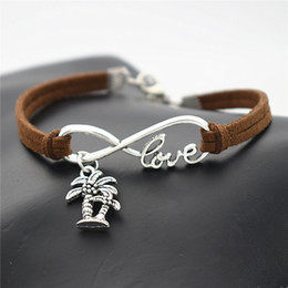 Tree Love Bracelets Australia - Hot sell 100% hand-woven Infinity Love Double Coconut Palm Tree Plant Jewelry Wrap Dark Brown Leather Braided Rope women men bracelets Gifts