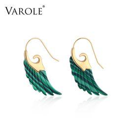 $enCountryForm.capitalKeyWord Australia - Varole Colorful Natural Stone Feather Design Dangle Earrings Unique Gold Color Long Drop Earrings For Women Earings Brincos Y19050901