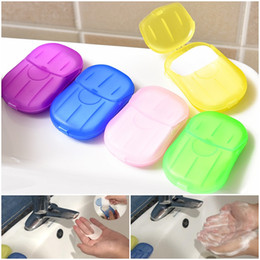 venda por atacado 20pcs / caixa portátil descartável encaixotado Soap Papel Hand Sanitizer Outdoor Soap Viagem papel perfumado banho Lavar as mãos Mini Sabão de papel DHL Shipping