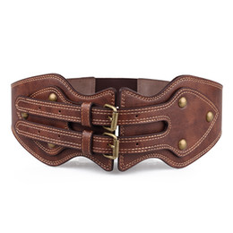 wide brown elastic belt Australia - belts Europe and the United States big fashion crazy leather belt double pin buckle belts for women's elastic wide belt wild jm52a