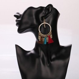 Big Fashion Exaggerated Chains Australia - 7 Exaggerated Female Models Big Ring Handmade Ethnic Style Alloy Tassel Earrings Fashion Wrapped Cloth Chain Boho Hook Hook Earrings