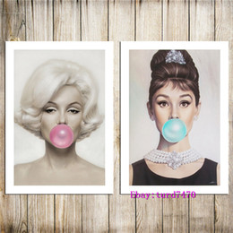 $enCountryForm.capitalKeyWord NZ - Audrey Hepburn, Bubble Gum,Michael Moebius - Marilyn Monroe -1,2 Pieces Canvas Prints Wall Art Oil Painting Home Decor (Unframed Framed)