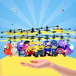 wholesale toys helicopter Australia - Aircraft Minion drone RC Helicopter Mini drone Fly Flashing helicopter Hand Control RC Toys Minion Quadcopter Dron LED Kids Toys (Retail)