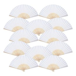 fan party favors Canada - 12 Pack Hand Held Fans White Paper fan Bamboo Folding Fans Handheld Folded Fan for Church Wedding Gift, Party Favors, DIY Decora