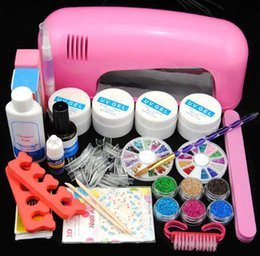 Nail Art Pro Manicure Kit UV Gel Manicure Set Nail Art Kit 9W Nail Dryer Gel Cleanser Plus Glitter Decoration Rhinestones Design