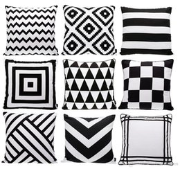 blue stripe cushion covers Canada - Modern Black And White Cushion Cover Geometric Triangles Chevron Stripes Plaids Rhombus Rug Pattern Cushion Covers Sofa Throw Pillow Case
