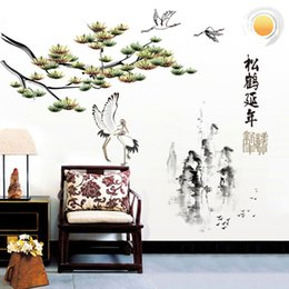Chinese Decals Stickers Australia - [Fundecor] Chinese painting pine tree crane bird mountain diy wall stickers home decor living room art wall decals retro Mural