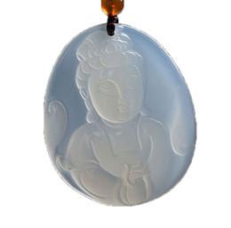 Jade Guan Yin Pendant Australia - Koraba Fine Jewelry Clin-kk Natural White Agate Kwan-Yin Guan Yin Bodhisattva Buddha Necklace Pendant Free Shipping