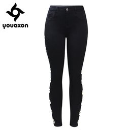 Wholesale studded pants resale online – designer 2167 Youaxon Black Stretchy Jeans With Side Eyelets Studded Women s Big Size Mid High Waist Denim Skinny Pants Jeans For Women