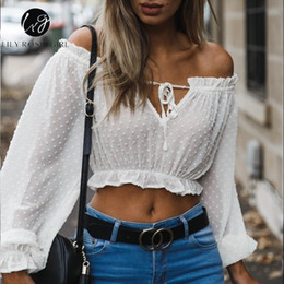 Short White Sexy Girl Australia - Lily Rosie Girl Off Shoulder White Women Shirt Solid Long Sleeve Short Blouse High Street See Through Club Sexy Crop Top Q190518