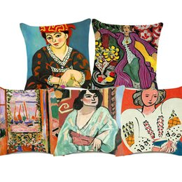 $enCountryForm.capitalKeyWord NZ - Henri Matisse Paintings Cushion Covers Woman with a Hat The Open Window Art Cushion Cover Decorative Sofa Throw Linen Cotton Pillow Case