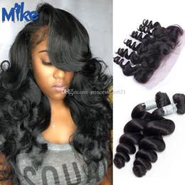 human hair bundles closure deal 2019 - MikeHAIR Malaysian Loose Wave Hair Weave with Lace Frontals Indian Brazilian Peruvian Human Hair Weaves And Closure Bund