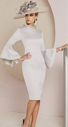 mother bride dress knee length silk Canada - 2020 Modern Silver Mother of The Bride Dresses Crystal Beaded High Neck Long Sleeve Wedding Guest Dress Dubai Evening Gowns
