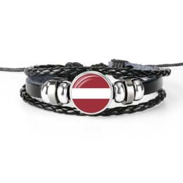 $enCountryForm.capitalKeyWord Australia - Genuine Leather Rope Beaded Bracelets for Men Women Latvia National Flag World Cup Football Fan Time Gem Glass Dome Button Jewelry Wholesale