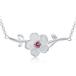 Cheap shorts for ladies online shopping - Elegant Cherry Flower Crystal Sterling Silver Ladies Pendant Necklaces Jewelry For Women Short Choker Chains No Fade Cheap
