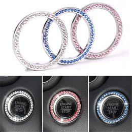 $enCountryForm.capitalKeyWord Australia - Fashion Crystal Rhinestone Decor Car Engine Start Key Ring Start Stop Ignition Button Sticky Ring Sticker