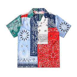 Wholesale men satin short sleeve shirts for sale – dress Europe America Spring Summer Men Women cool patchwork Bandanna Paisley beach Shirt Short Sleeve shirt Casual Hip Hop Tee