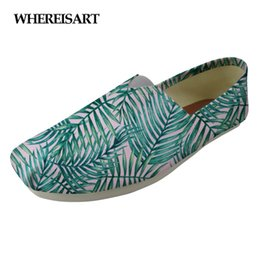 Discount loafers shoes for women - WHEREISART Tropical Plants Fashion Female Flats Shoes Casual Women Lazy Loafers Shoes Woman Super Light Canvas for Girls